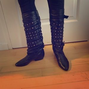 Golden Goose black leather studded knee high boots